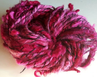 Art yarn handspun SALE buy 3 get 1 free Dahlia 2.2 oz. alpaca wool  locks nylon