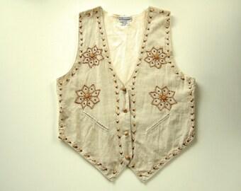 Fun Boho Hippie Style Women's Vest Flower Power Beaded Linen Vest East Indian Ethnic Clothing Cool Gift Unusual Gift for Her