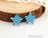 10pcs Turquoise Sun Star Wooden Cabochons / Charm, Perfect for Earring, Necklace - HWE403V