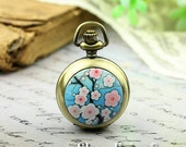 10% OFF SALE - 1pcs Personalized Handmade Antique Bronze / Silver Photo Pocket Watch Pendant / Charm (Pink Cherry blossoms) -- HWK500L