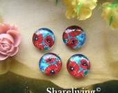 20% OFF SALE - Glass Cabochon, 8mm 10mm 12mm 14mm 16mm 20mm 25mm 30mm Round Handmade photo glass Cabochons  (Poppies) -- BCH136C