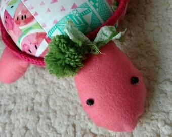Pink Patchwork Turtle Softie