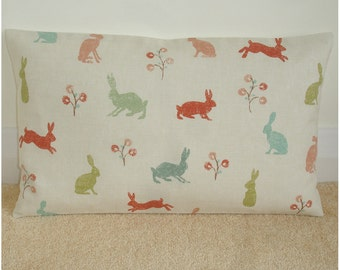 "20""x12"" Oblong Pillow Cover Rabbits 20x12 Hares Cushion Sham Slip Case Pillowcase Rabbit Hare 12x20 Orange Brown Green Duck Egg Aqua Coral"