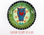 Ceramic Blue Owl Heart XO  Ceramic Mini Bowl Hand Painted by Sharon Bloom Designs