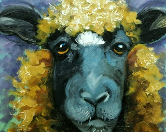 Sheep painting 24 12x12 inch original oil painting by Roz