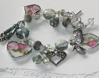 Broken China Bracelet - Charm Bracelet - Handmade Bracelet - China Bracelet - Lampwork Bead Bracelet Lampwork Jewelry