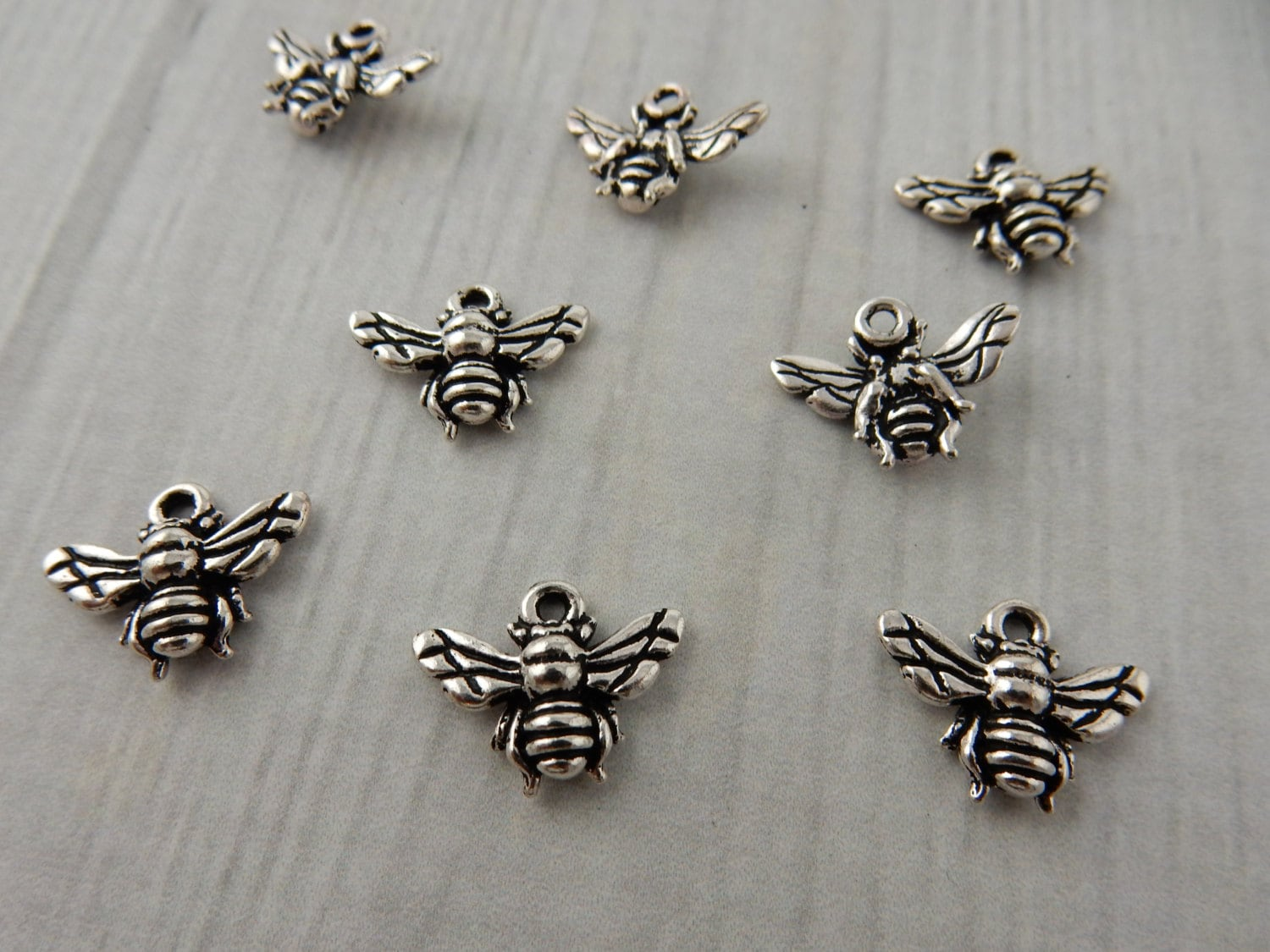 bee charm tierracast antique silver tiny honey bee. Black Bedroom Furniture Sets. Home Design Ideas