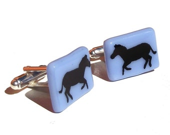 Glass Zebra Cufflinks Enamel Screenprint Custom Colours