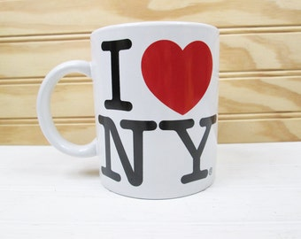 Vintage I Love NY New York Ceramic Coffee Mug Cup A View Of The World City Mugs Korea