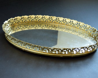 Gold Vanity Tray - Oval Mirrrored Ornate Tray for Trinkets, Jewelry for Vanity Table Office Desk Decorative Platter Dish Storage Organizer