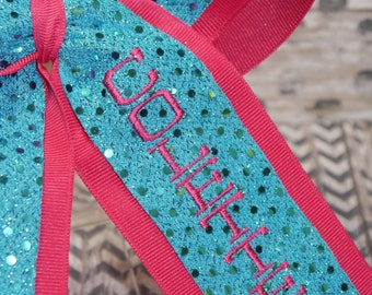 Embroidered Personalized 2 loop Sparkle Sequin Cheer Bow. Custom.  Your name, school name, cheer team, mascot, favorite#.