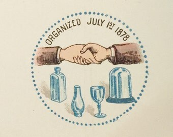Early 1900s American Flint Glass Workers Union Designs for Union Badges   Frathernal Handshake and Glass Bottles in Design