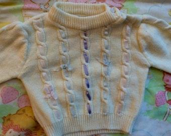 Vintage Ribbon Sweater 9-12 Months 70s