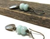 Aqua earrings, amazonite jewelry, sea foam green, aquamarine, tribal earrings, brass dangle, brass earrings, wire wrapped,  pretty drops