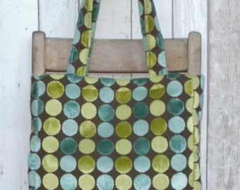Lime, Mint Green and Brown Spot Purse / Tote / Shoulder Bag