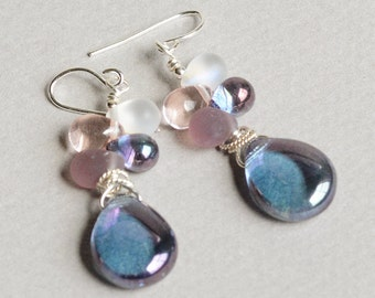 Sparkle Earrings - Purple and Pink Earrings - Purple and Silver Earrings - Royal Purple Earrings - Sterling Silver Earrings