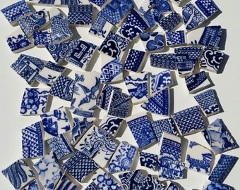 Blue Willow Mosaic Tile Mix * Blue and White Ceramic Tiles* Beautiful Blue Bird*100+ Tiles Vintage Shabby Chic