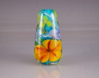 Lampwork Focal Bead- Encased Floral
