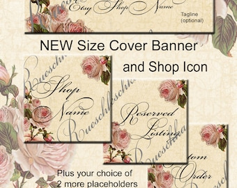 Rosey Floral Vintage Look Etsy Shop Icons Banners Set