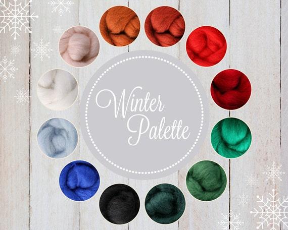 Roving Packs, Wool Roving, Winter Palette, Wool Roving for Felting, Wool Roving for Spinning, Wool Roving for Sale, Needle Felting Supplies