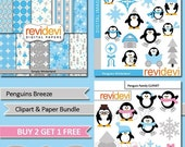 50% OFF SALE Winter PENGUINS / Clipart and digital paper bundle / Penguins Breeze Mgb085 / blue, grey / cute penguin, snowflakes