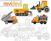 Construction trucks clipart and digital stamp / transportation commercial use digital clipart / instant download