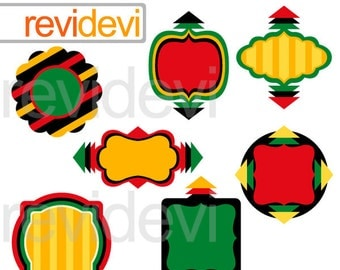 Kwanzaa clip art sale / kwanzaa frames clipart / frame clipart / red yellow green black / digital images / instant download, commercial use