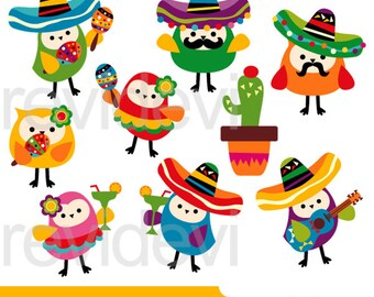 Mexican clipart, mexico clip art / Cinco de mayo owls clipart, Mexico 5th May fiesta clipart, instant download clip art, digital images