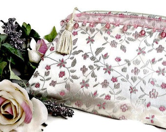 White Evening Bag , Zipped Clutch Purse , Women's Formal Handbag , Wedding , Bridal , Pouch , Pocketbook