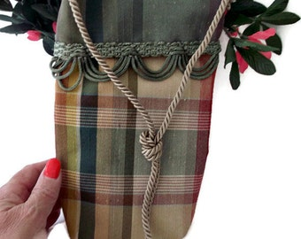 Small Cross Body Purse , Over the Shoulder Bag , Plaid Purse , Teen gift , Hipster Purse , Hippie Bag , Gift Under 20 , Stocking Stuffer