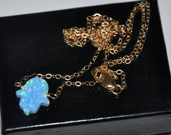 Hamsa Necklace Gold,  Opal Necklace,  Blue Opal,  Gold Filled,  Good Luck, Opal Jewelry, Gold Necklace