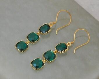 Emerald Green Earrings, Gold Earrings, Green Glass Stone Earrings, Dangle Earrings, Bridal Jewelry, Gold Filled
