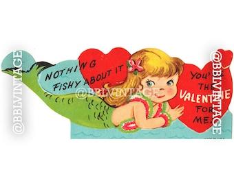 Vintage Digital Greeting Card: Mermaid Valentine - Digital Download, Printable, Scrapbooking, Image, Clip Art