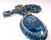 Deep Sea Blue Stone Bead Embroidered Pendant Necklace Handmade Jewelry Spiral Beaded Chain Pendant Statement Necklace
