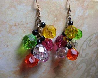 Vintage Earrings Beaded Earrings Colorful 80s Rainbow Earrings Fun Multicolor Whimsical Disco 1980s