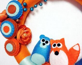 Fox Wreath, Bear Wreath, Front Door Decoration, Summer Wreath, Orange and Blue Yarn Wreath, Flowers