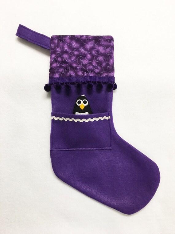 Felt Stocking, Christmas Stocking, Pocket Stocking, Penguin - Purple Swirl, Purple Stocking