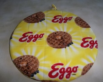 Eggo Waffle Sunshine Round Quilted Hot Pad or Pot Holder Cotton Fabric 9 Inches Trivet Insulated
