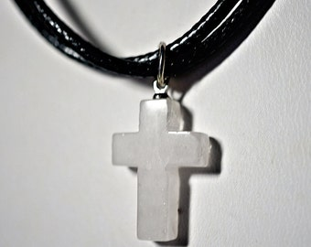 Stone Cross on Double Black Cord Necklace, Black Leather Cord, Stone from Jerusalem