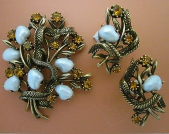 Vintage Coro Brooch and Earrings Set with Baroque Pearls and Rhinestones