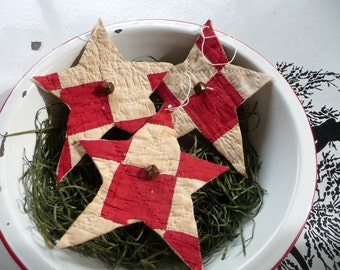 Primitive red white quilt star ornie bowl filler tuck christmas star