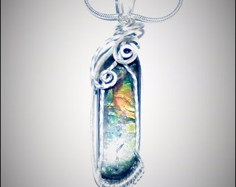 Ammolite Pendant Wire Wrapped in Sterling Silver
