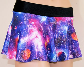 Purple Hologram Glitter Galaxy Nebula Circle Twirl Skirt Adult All Sizes- MTCoffinz