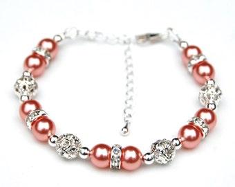 Salmon Pearl Bracelet, Salmon Wedding, Bridesmaid Jewelry, Salmon Jewelry, Bridesmaid Gifts, Salmon Pink Pearl Bracelet