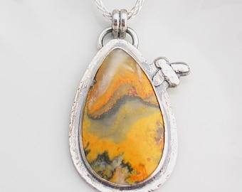 Bumble Bee Jasper Pendant, Bee Necklace, Silver Artisan Jewelry, Metalwork, Orange, Yellow