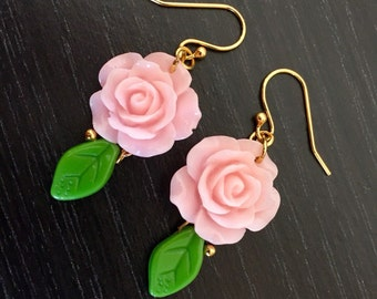 Sweet Roses 14k Gold Plated Earrings in Pink