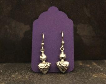 Small Flaming Sacred Heart Earrings