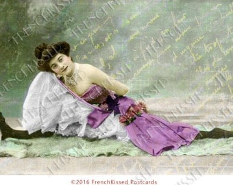 French Cancan Dancer Doing the Splits Altered Antique Postcard Digital Printable