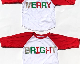 MERRY & BRIGHT....Fabric Iron On Letter Appliques... Perfect For Twins