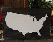 United States Map sign, plank style wood sign, USA, Map, wall art, wood sign - Style HM102